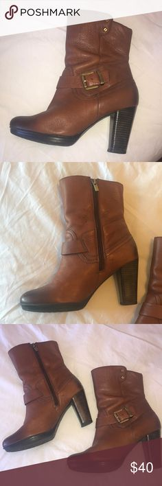 Clark's boots Incredibly comfortable leather boots by Clark's. Side zipper. Good condition, I'm just not wearing heels anymore and would like them out of my closet. Price is firm Clarks Shoes Heeled Boots