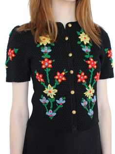 vintage 60s embroidered floral knit sweater top / flower cardigan