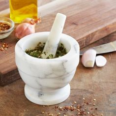 white marble mortar and pestle - adding this to our kitchen wish list
