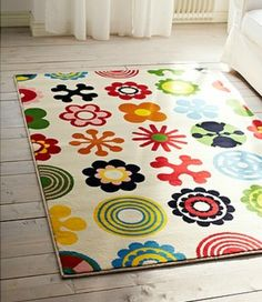 Bright and colorful area rug, great for kid's playroom. #playroom