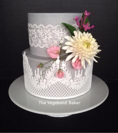 EDITOR'S CHOICE (02/16/2014) Gold and pink flourish by The Vagabond Baker-custom cakes and sweets with a global... View details here: http://cakesdecor.com/cakes/113776-lace-and-dahlia-cake