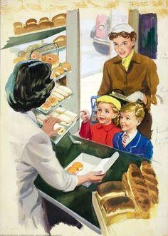Inside baker's - Shopping with Mother - Ladybird Books 1958