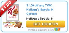 Tri Cities On A Dime: $1.00 COUPON ON ANY 2 KELLOGG'S SPECIAL K CEREALS