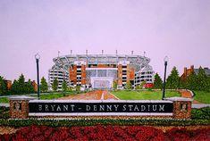 Bryant Denny Stadium, at the University of Alabama Printed from the Original Watercolor by Michael Joe Moore Crimson Tide Football, Alabama Football, Alabama Crimson Tide, Lsu, Alabama Wallpaper, Tuscaloosa Alabama, Dream School, Junior Year, University Of Alabama