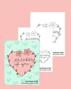 Thinking of You Embroidery Pattern by ziedarling on Etsy