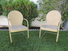 Pair of Mid Century Modern Scallop Back Metal Lawn Chairs Los Angeles by HouseCandyLA, $199.00