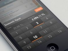 iOS layout custom numeric keyboard design found on Dribbble. Like the use of black and orange and the gradients.