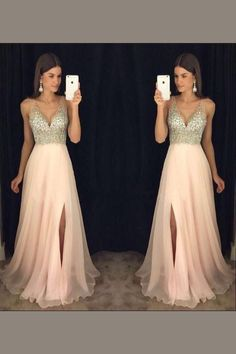 Charming A LineDeep V Neck Prom Dress,Side Slit Sequins Beading Evening Dress OMP13