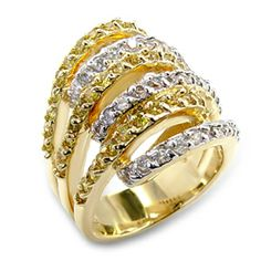 Pave Topaz CZ Two Tone Ring