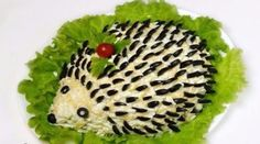 How to make salad hedgehog - recipe, ingredients and photos Hedgehog Recipe, Raw Food Recipes, Salad Recipes, Party Food Buffet, Edible Centerpieces, Savory Salads, Food Garnishes, How To Make Salad, Party Snacks