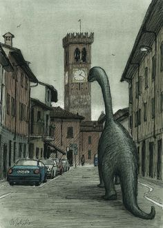 Illustration of Rivolta D'Adda by Franco Matticchio for Tapirulan