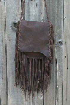 Rustic gypsy handbag Fringed leather purse by thunderrose on Etsy,