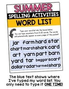 Summer Spelling Activities - EDITABLE These no-prep spelling activities can be used with spelling word lists between 5-20 words. Enter your vocabulary list once and all 12 printable spelling worksheets will auto fill. This teaching resource is perfect for reading centers & sight word homework activities.| summer reading activities | sight word practice | vocabulary activities prevent summer slide spelling worksheets