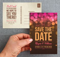 Really pretty bokeh save the date - by Anna of the Designer Co-op