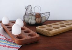 Cherry Wood Egg Tray by theredbirdshop on Etsy
