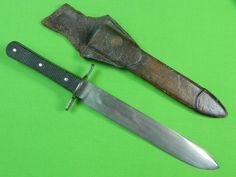 Antique Early 19 Century British English THORNHILL Huge Fighting Knife & Sheath