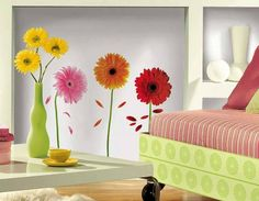 These Small Gerber Daisies - Peel N Stick Dorm Decor are just what college students want in college decor. Dorm accessories that are reusable and stylish college accessories. Dorm rooms come alive with dormco's peel n stick wall decor. Vinyl Wall Decals, Wall Stickers, Vinyl Art, Roommate Decor, Roommates, Dorm Accessories, Decoration Entree, Gerber Daisies, Daisy Flowers