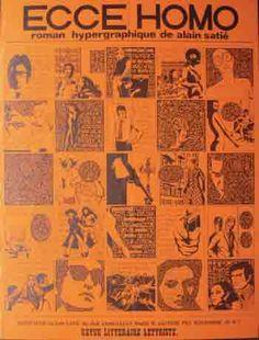 Lettrisme - Affiche Revue Littéraire Lettriste n°1, Ecce Homo, roman hypergraphique de Alain Satié, 1970, en noir sur fond rouge 59,5 x 44,5 cm