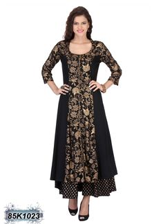 Enriching Black and Golden Coloured Rayon Kurti