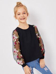 Top de chicas con malla con bordado floral de espalda con abertura de ojo-Spanish SheIn(Sheinside)