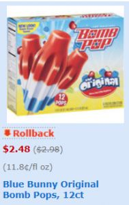 Bomb Pop Frozen Treats Only $1.48 at Walmart with Printable Coupon - http://www.yeswecoupon.com/bomb-pop-frozen-treats-only-1-48-at-walmart-with-printable-coupon-3/