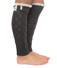 Look at this #zulilyfind! Charcoal Pointelle Open-Knit Leg Warmers #zulilyfinds