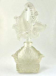 1920's Antique Ornate Perfume Bottle Pressed Glass Vanity
