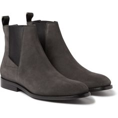 Balenciaga Suede Chelsea Boots ($995) ❤ liked on Polyvore featuring men's fashion, men's shoes, men's boots, grey, mens grey shoes, mens grey chelsea boots, mens gray dress shoes, mens gray chelsea boots and mens suede chelsea boots