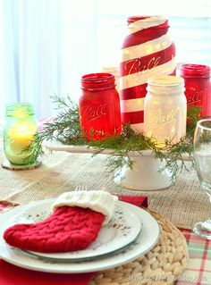 DIY Painted mason jar centerpiece and candles