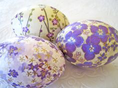 Easter Eggs Lavender Easter Eggs Purple Easter Eggs origami decoupage floral cream yellow cherry blossom...By:CatnipStudioToo