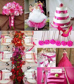 Cerise färgtema på bröllop / Color theme: cerise