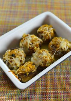 Olive Garden Stuffed Mushrooms make your own homemade with this #copycat recipe.  Recipe from CopyKat.com