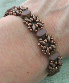 Linda's Crafty Inspirations: Bracelet of the Day: Sandra Silky - Mauve & Milk Chocolate