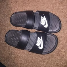 Double strap Nike slides Brand new, never worn, super cute size 9 Nike Shoes