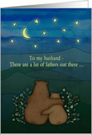 Father's Day, for Husband - Bears, landscape, stars, moon, drawing.