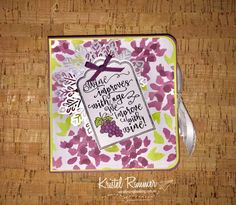 """Tile Coaster Book Box with Half Full Stamp Set, Scalloped Tag Topper Punch, Fresh Fig, Lemon Lime Twist, Whisper White, Naturally Eclectic DSP, Foil Snowflakes, 1/8"""""""" (3.2mm) Sheer Fresh Fig Ribbon and 5/8"""""""" (1.6cm) Organza Whisper White Ribbon using the Aqua Painter (Stampin' Up!) - Secretly Scrapbooking (Bunbury, WA)"""