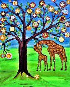 """Tree of Life with Giraffes Custom  Nursery decor -Happy Tree Painting Penny Tree fantasy mixed media : size 8x10"""""""