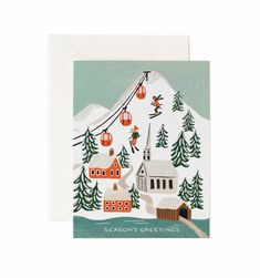 Holiday Snow Scene Available as a Single Folded Card or Boxed Set of 8