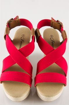 Simple Elastic Strap Wedges - Coral from Sandals at Lucky 21 Lucky 21