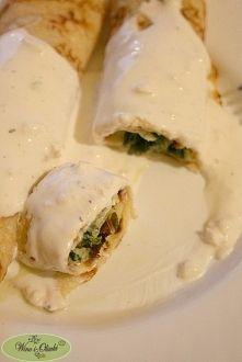 Zobacz zdjęcie Naleśniki ze szpinakiem i sosem czosnkowym   Składniki dla 2-3 osób  Naleśnik...