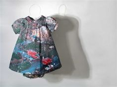 """Shelly Goldsmith ~ """"Fragmented Bell"""" (2006) Deconstructed cotton dress and matching knickers, heat transfer of tornado damage photography courtesy of Cincinnati Red Cross. 40 x 40 x 18 cm via Photo: Andra Nelki via Arts Council England; Ramsgate, Kent, South East - Members 