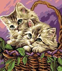 esquema gratis de punto de cruz para descargar en pdf, imprimir y bordar dibujo de dos gatitos en una cesta