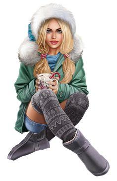 Fashion Dress Up Games, Fashion Dolls, Santa Claus Girls, Digital Art Gallery, Female Profile, Digital Art Girl, 3d Girl, Airbrush Art, Color Pencil Art