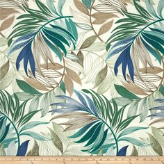 Richloom Solarium Outdoor Oasis Chambray Fabric By The Yard Solarium, Chambray Fabric, Botanical Wall Art, Tropical Pattern, Fabric Wallpaper, Wall Fabric, Parrot Wallpaper, Outdoor Fabric, Indoor Outdoor
