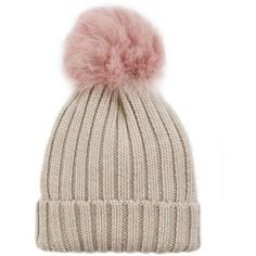 Jocelyn Women's Pink Shearling Lamb Pom Hat ($118) ❤ liked on Polyvore featuring accessories, hats, beanies, pompom hat, pink beanie, beanie cap hat, pink beanie hat and beanie hat