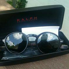 New ralph lauren round sunnies Ralph Lauren round sunglasses. Black/ turtuoise color. Ralph Lauren Accessories Sunglasses
