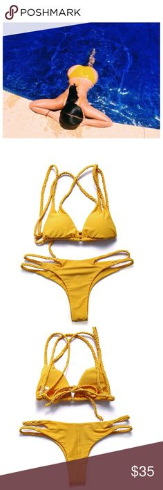 🌼Xel-Ha Bikini🌼 🌞SPRING/SUMMER 2017 COLLECTION🌞New to Nikkiesboutique! Get Kim Kardashian's look with this gorgeous yellow bikini!   📍Also Available In Wine & Black Comment After Purchase What Color You Want📍 - Sizes can be mixed - Braided Straps -  Item will ship 10-15 Business Days After Purchase💌📫 -  No Trades 📌Price is Firm!  -  NOT For Zara only listed under that brand for exposure Zara Swim Bikinis