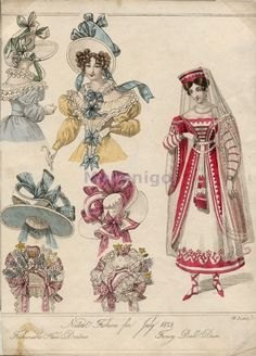 1828 Women's hats and walking dresses