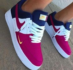 Nike Air Forces Red white and blue Nike air forces Available in men and women Men Women Nike Shoes Sneakers Cute Sneakers, Sneakers Mode, Sneakers Fashion, Fashion Shoes, Shoes Sneakers, Nike Fashion, Men Fashion, Fashion Beauty, Jordan Shoes Girls