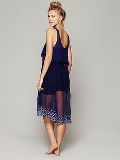 NWOT Free People Southern Slip Dress Indigo Sz L $128 BEAUTIFUL! ON PINTEREST!